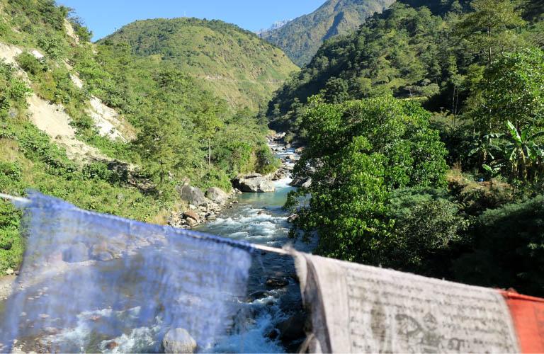 Annapurna Circuit Trek Nepal Gebetsfahne