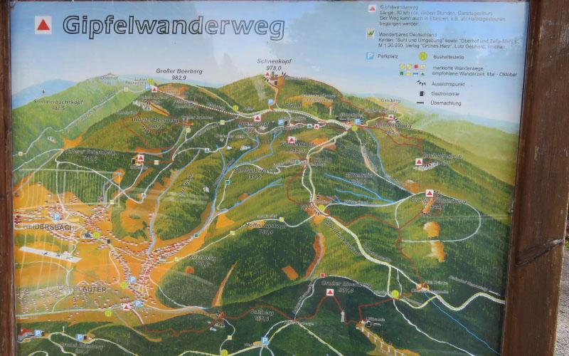 Gipfelwanderweg Karte Thüringer Wald