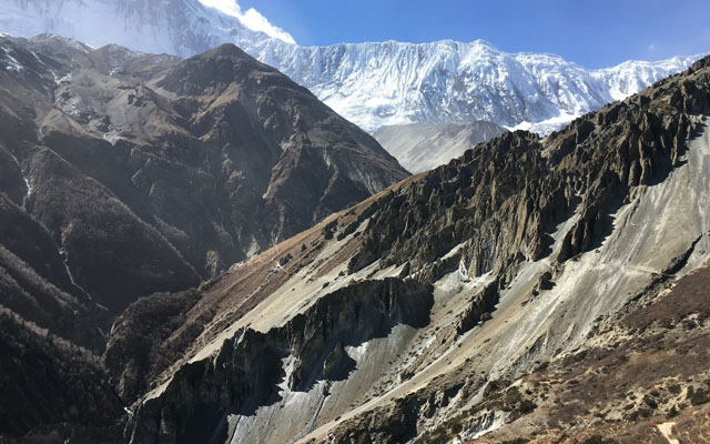 landslide area Tilicho Lake side trek